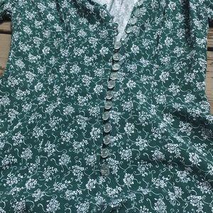 Vintage Pants - Vintage}• green floral button down romper